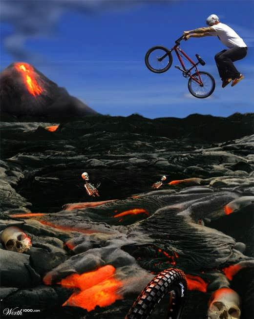 Play the lava bike race